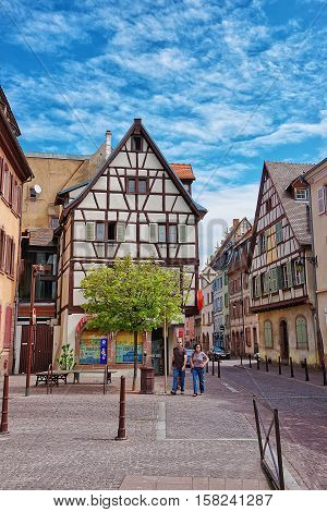Grand Rue Street At Colmar At Alsace In France