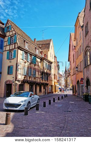 Grand Rue Street In Colmar In Alsace In France