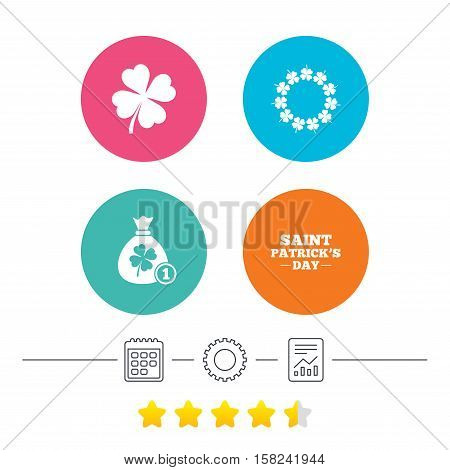 Saint Patrick day icons. Money bag with coin and clover sign. Wreath of quatrefoil clovers. Symbol of good luck. Calendar, cogwheel and report linear icons. Star vote ranking. Vector