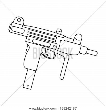 UZI weapon icon outline. Single weapon icon from the big ammunition, arms outline.