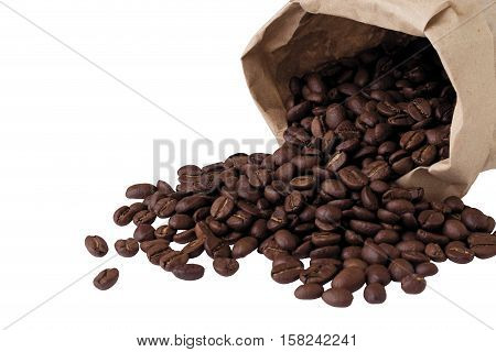 coffee beans spill out of the package