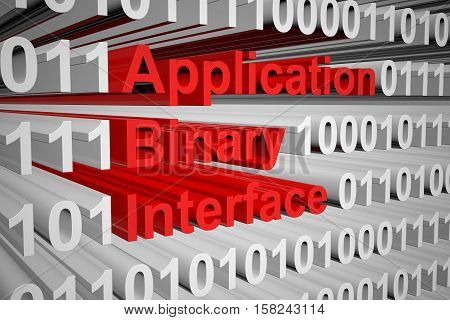 application binary interface in the form of binary code, 3D illustration