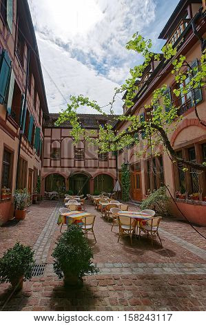 Inner Yard In Colmar In Alsace France