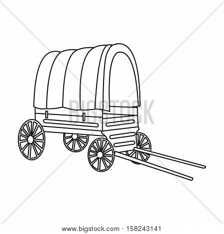 Cowboy wagon icon outline. Singe western icon from the wild west outline.
