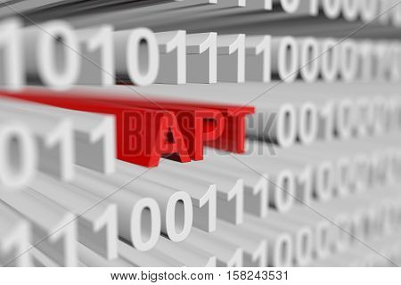 APT as a binary code with blurred background 3D illustration