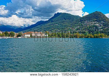 Lake Lugano And Mountains In Ticino  Switzerland
