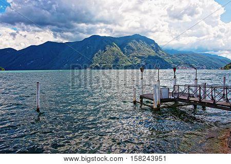Landing Stage At Promenade In Lugano In Ticino Switzerland