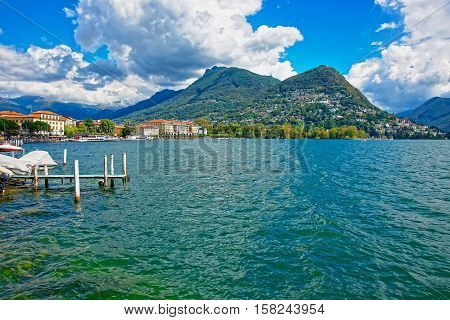 Landing Stage At Promenade In Lugano In Ticino In Switzerland