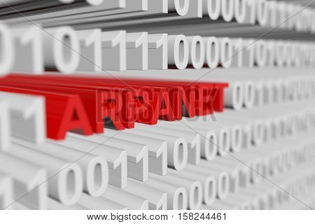 ARPANET as a binary code with blurred background 3D illustration
