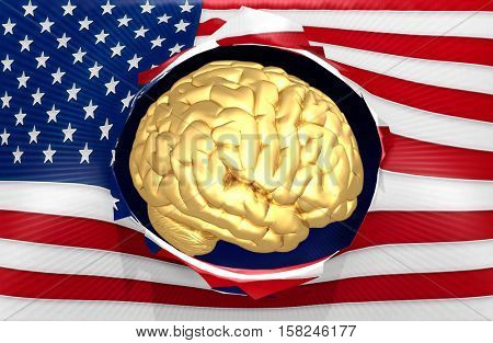 American Flag With A Golden Brain Concept 3D Illustration