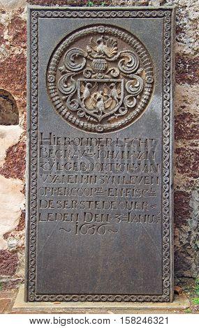 Malacca, Malaysia - April 10, 2015: old gravestone in the church of Saint Paul in Malacca Malaysia