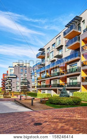 Modern Complex Of Residential Buildings With Outdoor Facilities