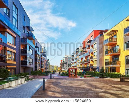 Modern Residential Buildings And Benches