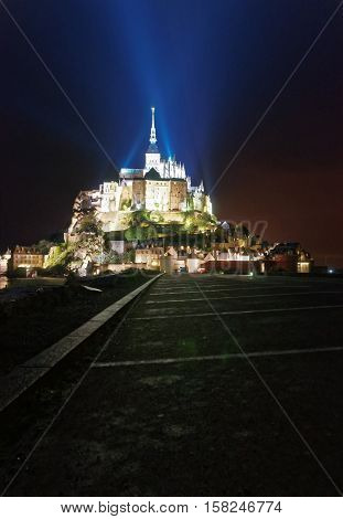Mont Saint Michel In Normandy Of Manche In The Evening