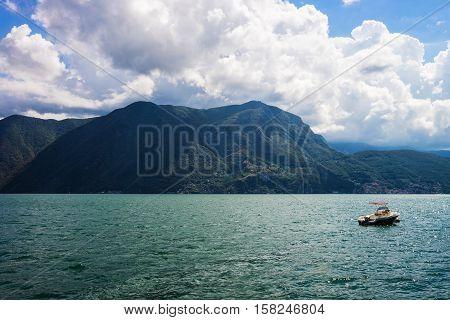 Motor Boat At Embankment In Lugano In Ticino Switzerland