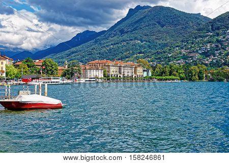 Motor Boat At Promenade In Lugano In Ticino Switzerland