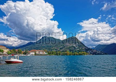 Motor Boat At Promenade In Lugano In Ticino Of Switzerland