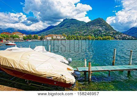 Motor Boats At Promenade In Lugano In Ticino Switzerland