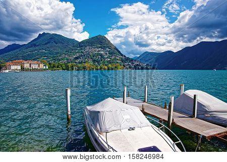 Motor Boats At Promenade In Lugano In Ticino In Switzerland