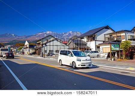 NIKKO, JAPAN - NOVEMBER 13, 2016: Downtown of Nikko city in central Japan. Nikko is a popular destination for Japanese and international tourists with Tosho-gu temple, a UNESCO World Heritage Site.