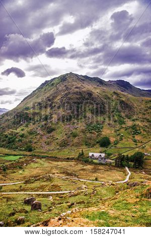 Mountains in National Park Snowdonia in North Wales of the United Kingdom. Snowdonia is a mountain range and a region in North of Wales.
