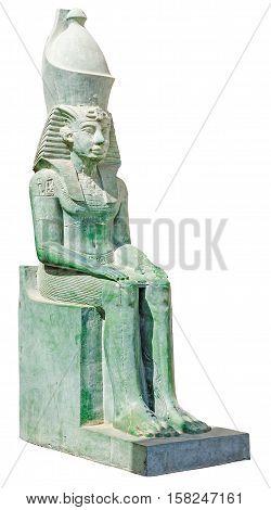 Praying ancient egypt statue of king Amenemhet isolated on white background (pharaoh Amenhotep).