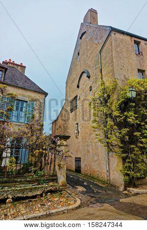 Narrow Street Of Vezelay In Bourgogne Franche Comte Of France