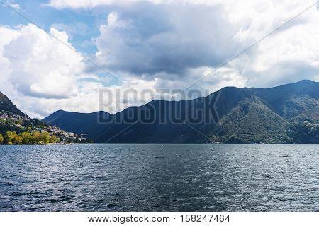 Nature Of Lake Lugano And Alps Mountains Ticino Switzerland