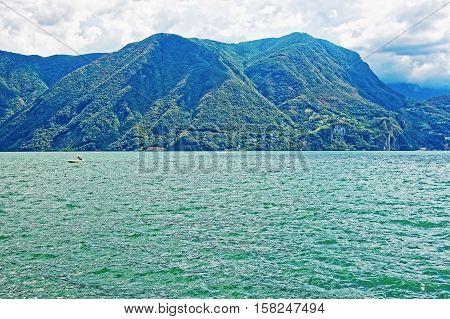Nature Of Lake Lugano And Mountains In Ticino Switzerland