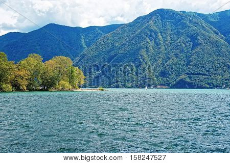 Nature Of Lake Lugano And Mountains In Ticino Of Switzerland