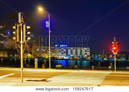 Night View At The Radisson Blu Hotel In Riga Latvia