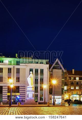 Night View At The Town Hall Square In Old Riga Latvia