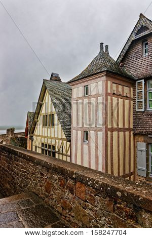Old Houses In Mont Saint Michel In Normandy In France