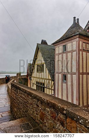 Old Houses In Mont Saint Michel In Normandy Of France