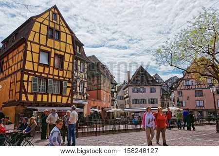 Old City Center In Colmar In Alsace France