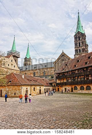 Old Palace And Bamberg Cathedral In Bamberg City Center Germany