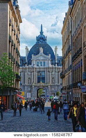 Palace Of Commerce And Shopping Street In Rennes Brittany France