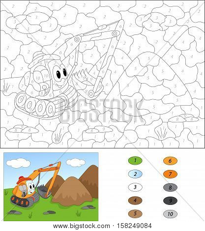 Cartoon Excavator. Color By Number Educational Game For Kids