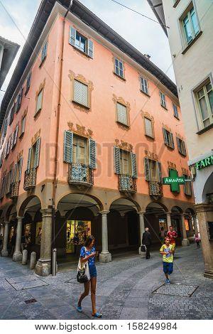 Pessina Street At City Center In Lugano In Ticino Switzerland