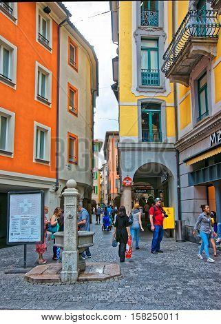 Pessina Street In City Center In Lugano In Ticino Switzerland