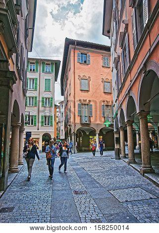 Pessina Street In City Center In Lugano Of Ticino Switzerland