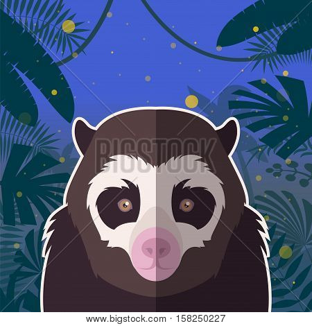 Flat Vector image of the Spectacled Bear on the Jungle Background