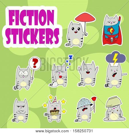 Little cute cartoon cat sticker set. Emoticon design collection for social media. Vector