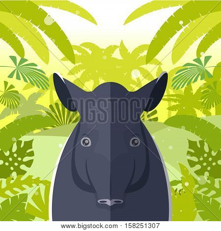 Flat Vector image of the Tapir on the Jungle Background