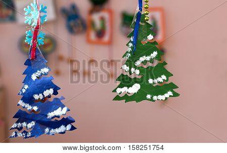 New Year tree made of paper children's odd job