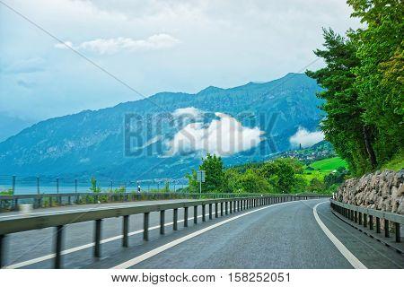 Roadway At Boltigen At Jaun Pass In Fribourg Switzerland