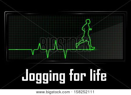 Healthcare concept illustration made as heart beats cardiogram with running sportsman. Vector