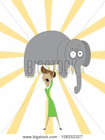 Cartoon women raises elephant . Concept of successful housewife, multitasking woman, perfect wife or super mom. Vector