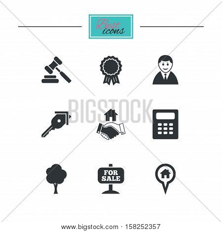Real estate, auction icons. Handshake, for sale and calculator signs. Key, tree and award medal symbols. Black flat icons. Classic design. Vector