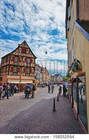 Rue De Turenne In Colmar In Alsace Of France